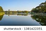 Panoramic view of lalbagh lake at Lalbagh botanical garden, Bangalore, India .