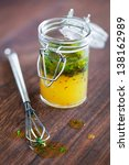 salad dressing with olive oil ... | Shutterstock . vector #138162989