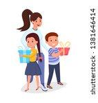 woman  children with presents... | Shutterstock .eps vector #1381646414
