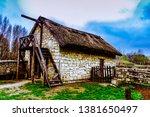 old ukrainian white stony barn... | Shutterstock . vector #1381650497