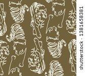 tigers line art illustration... | Shutterstock . vector #1381658381