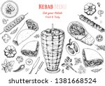 doner kebab cooking and... | Shutterstock .eps vector #1381668524
