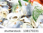 Stock photo pickled herring with dill and peppercorns 138170231