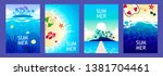 set of summer banners. sea and... | Shutterstock .eps vector #1381704461