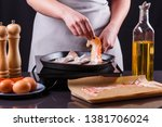 young woman in a gray apron... | Shutterstock . vector #1381706024