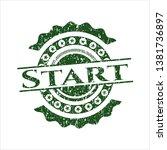 green start distressed rubber... | Shutterstock .eps vector #1381736897
