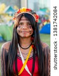 """Small photo of Brasilia, Brazil-April 25th 2019: Thousands of Indigenous Indians descend upon the capital city of Brasilia, in a movement called """"Acampamento Terra Livre 2019 (Encampment for Free Land)"""