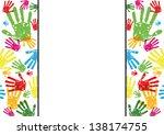 abstract vector hand prints... | Shutterstock .eps vector #138174755