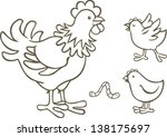 hen with two chickens | Shutterstock .eps vector #138175697
