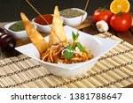 delicious spaghetti with tomato ... | Shutterstock . vector #1381788647