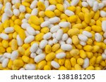 cocoon silkworm many silk worm yellow white - stock photo