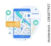 smartphone map navigation... | Shutterstock .eps vector #1381877927