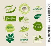 set of organic label and... | Shutterstock .eps vector #1381885604