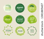 set of organic labels and... | Shutterstock .eps vector #1381885607