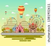 amusement park circus carnival... | Shutterstock .eps vector #1381902611