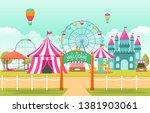 amusement park circus carnival... | Shutterstock .eps vector #1381903061
