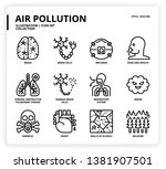 air pollution icon set for web... | Shutterstock .eps vector #1381907501