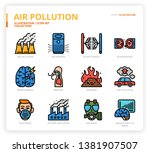 air pollution icon set for web... | Shutterstock .eps vector #1381907507