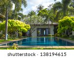 swimming pool and yard of the...   Shutterstock . vector #138194615