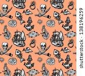 seamless pattern tattoo | Shutterstock .eps vector #138196259