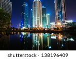 the night view of the lujiazui... | Shutterstock . vector #138196409