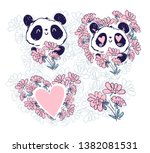 hand drawn cute beautiful set... | Shutterstock .eps vector #1382081531
