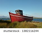 An Old Red Disused Fishing Boat ...