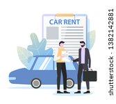 businessman rent car contract...   Shutterstock .eps vector #1382142881