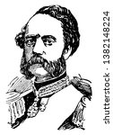 Christian IX, 1818-1906, he was the king of Denmark from 1863 to 1906, and Duke of Schleswig, Holstein and Lauenburg, vintage line drawing or engraving illustration