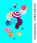 multicolored decorative balls.... | Shutterstock .eps vector #1382158154