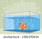 vector illustration of one fish ...   Shutterstock .eps vector #1382190614