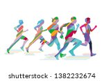 running people doing sports ... | Shutterstock .eps vector #1382232674