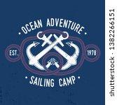 sailing camp badge. vector... | Shutterstock .eps vector #1382266151