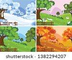 four seasons landscape....   Shutterstock .eps vector #1382294207