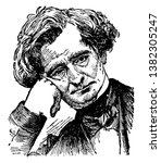 Hector Berlioz, 1803-1869, he was a French romantic composer, famous for his compositions Symphonie fantastique and Grande messe des morts, vintage line drawing or engraving illustration