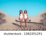 beautiful girls girlfriends in... | Shutterstock . vector #1382351291