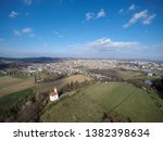 Aerial view on second largest city in Slovenia, Maribor with St. Marietta on Pekrska Hill