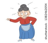 old lady  granny  angry and... | Shutterstock .eps vector #1382462054