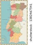 portugal map vintage color  ... | Shutterstock .eps vector #1382467541