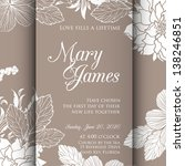 invitation or wedding card with ... | Shutterstock .eps vector #138246851