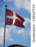 the denmark flag waving on the... | Shutterstock . vector #138247919