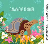 Stock vector cartoon style icon of galapagos tortoise with tropic leaves and flowers a cute character with text 1382539007