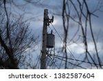 power line transformer with... | Shutterstock . vector #1382587604