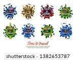 bundle of famous landmark of...   Shutterstock .eps vector #1382653787