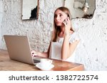 freelance woman working with... | Shutterstock . vector #1382722574