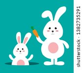 happy easter bunny with carrot... | Shutterstock .eps vector #1382735291