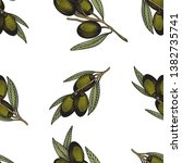 olive branch seamless pattern.... | Shutterstock .eps vector #1382735741