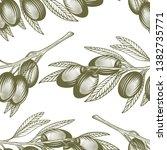 olive branch seamless pattern.... | Shutterstock .eps vector #1382735771