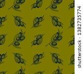 olive branch seamless pattern.... | Shutterstock .eps vector #1382735774