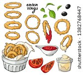vector set with onion rings .... | Shutterstock .eps vector #1382768447